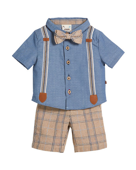Fore Caddie Mock-Suspenders Shirt w/ Plaid Shorts &