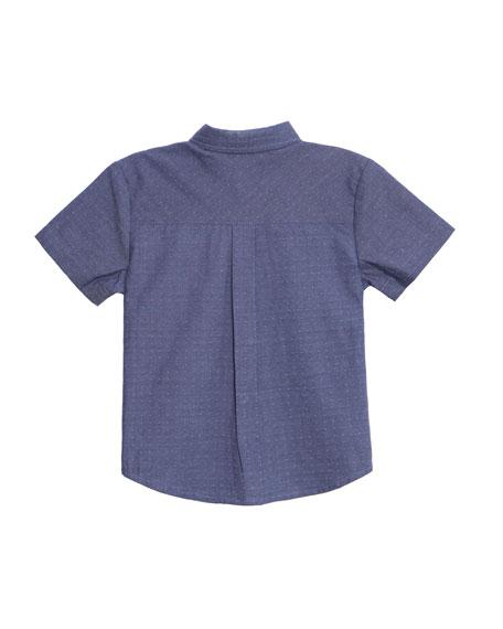 Caddie Pin-Dot Collared Shirt, Size 2-8