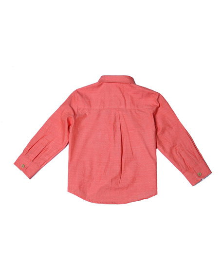 Long-Sleeve Pin-Dot Collared Shirt, Size 2-8