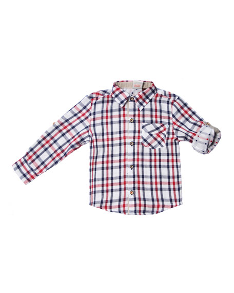 Fore Long-Sleeve Collared Plaid Shirt, Size 2-8