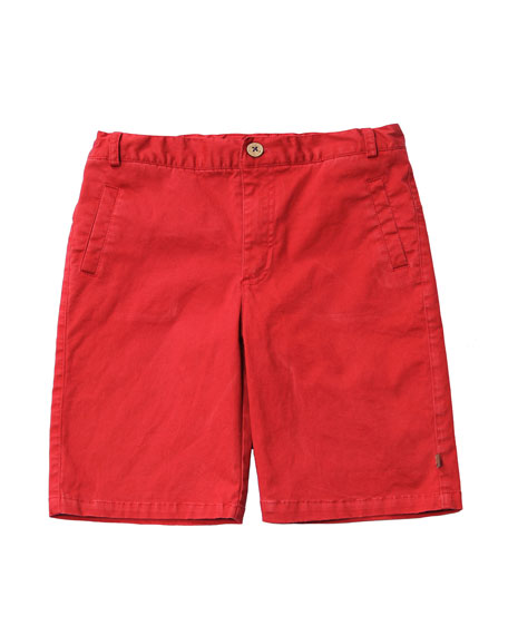 Cotton-Stretch Shorts, Red, Size 2-8