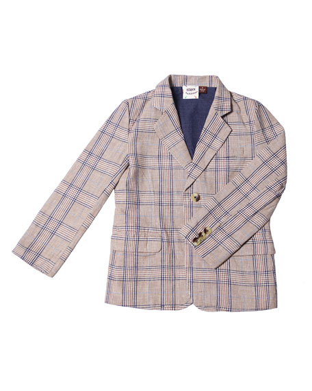 Fore Cotton-Blend Plaid Blazer, Size 2-8