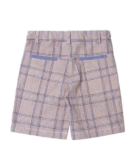 Plaid Cotton-Linen Shorts, Size 2-8