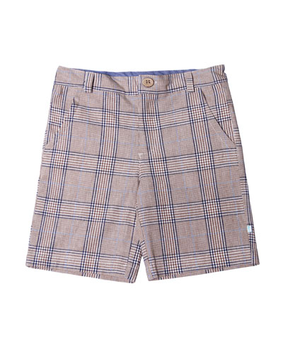 Plaid Cotton-Linen Shorts, Size 2-8