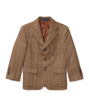 136947433466 Ralph Lauren Childrenswear Princeton Herringbone Wool-Silk Blazer, Size 4-7