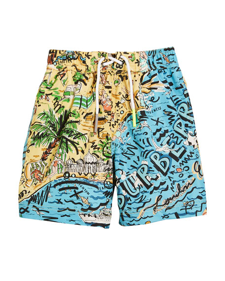 Ben Seaside-Print Swim Trunks, Size 4-14
