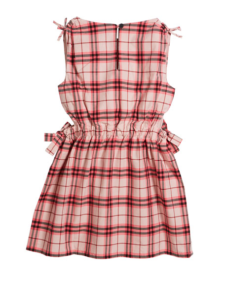 Candra Cutout Tie Check Dress, Size 4-14