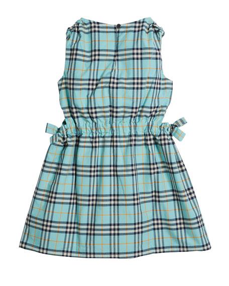 Candra Cutout Tie Check Dress, Size 4-14