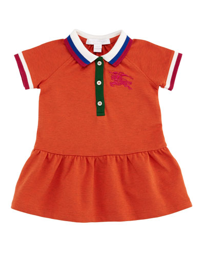 Calin Polo Dress w/ Contrast Multi Trim, Size 6M-3