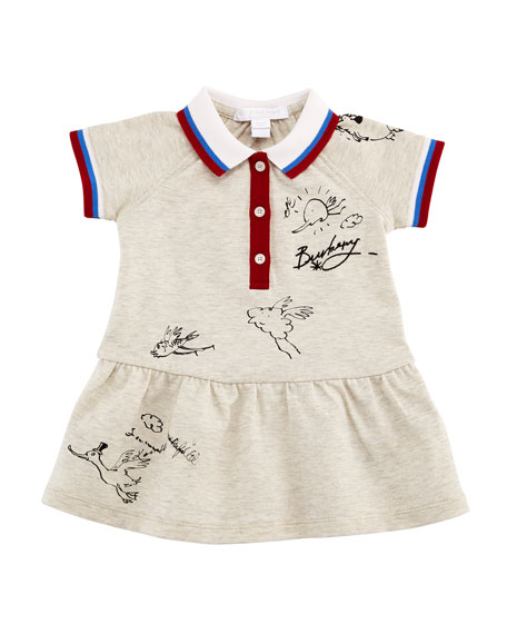 Burberry Calin Polo Graffiti-Print Dress, Size 6M-3