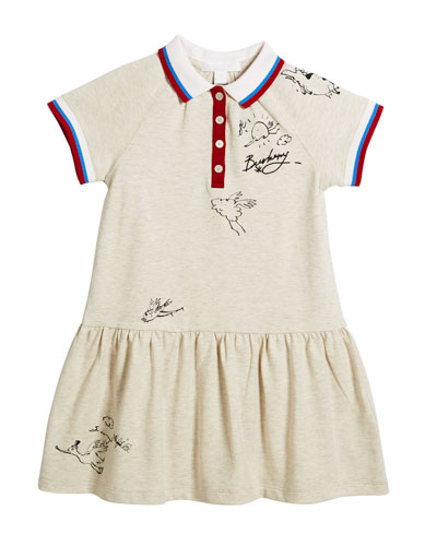 Calin Polo Graffiti-Print Dress, Size 4-14