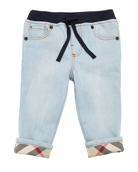 Burberry Relaxed Denim Jeans w/ Check Cuffs, Size