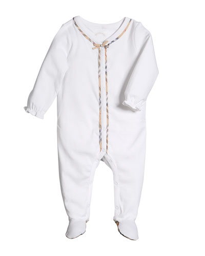 Jacey Check-Trim Footie Pajamas, Size 1-9 Months