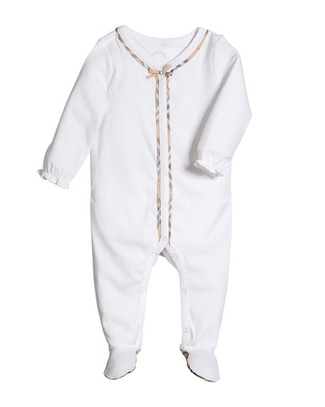 Burberry Jacey Check-Trim Footie Pajamas, Size 1-9 Months