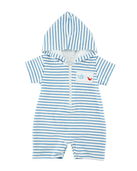 Kissy Kissy Ocean Treasures Striped Hooded Beach Romper,