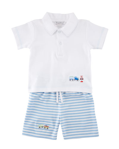 Little Railroad Two-Piece Bermuda Outfit Set, Size 3-24 Months
