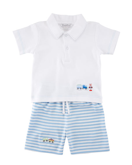 Kissy Kissy Little Railroad Two-Piece Bermuda Outfit Set,