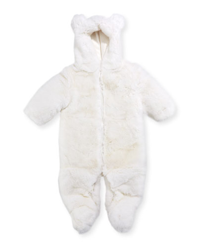 Hooded Fur Snowsuit, Size 3-12 Months