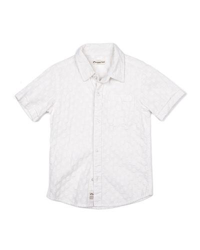 Short-Sleeve Tonal Pattern Beach Shirt, Size 2-14