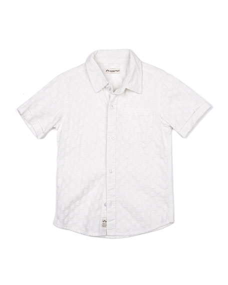 Appaman Short-Sleeve Tonal Pattern Beach Shirt, Size 2-14