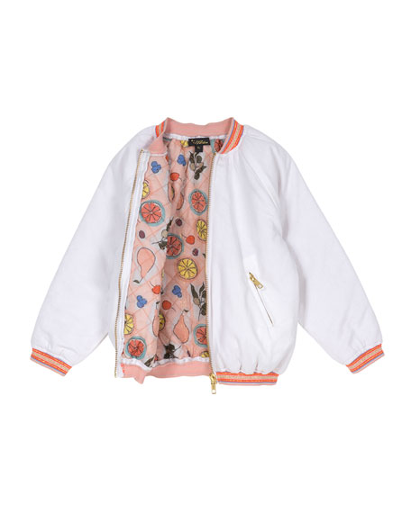 Sequin Embroidered Bomber Jacket, Size 4-6