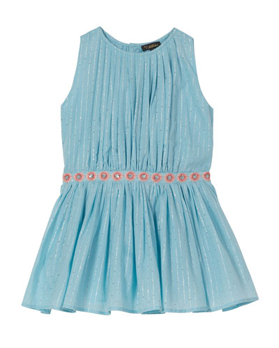 Pleated Sleeveless Party Dress, Size 4-6
