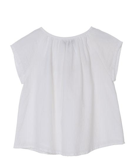 Short-Sleeve Crochet-Trim Blouse, Size 4-6