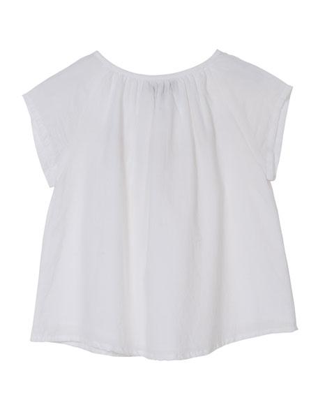 Short-Sleeve Crochet-Trim Blouse, Size 8-12