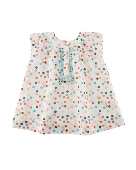 Velveteen Polka-Dot Cotton Dress w/ Cross-Stitched Detail, Size