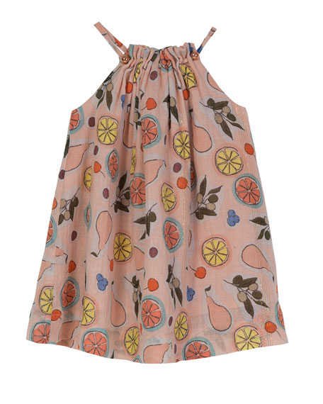 Velveteen Pleated Halter Swing Dress, Size 3-24 Months