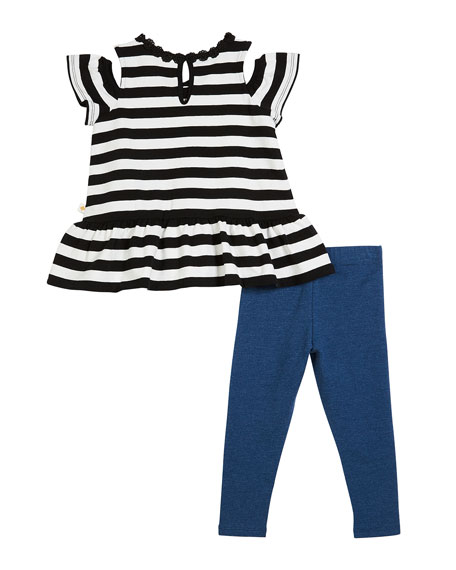 striped cold-shoulder top w/ leggings, size 12-24 months