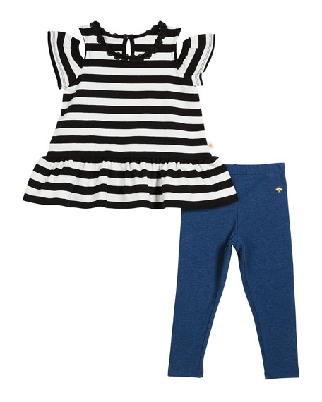 striped cold-shoulder top w/ leggings, size 2-6x