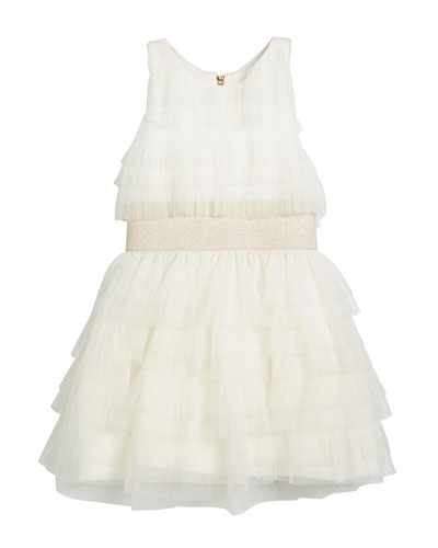 Layered Ruffle Tulle Dress w/ Metallic Elastic Waist, Size 7-16
