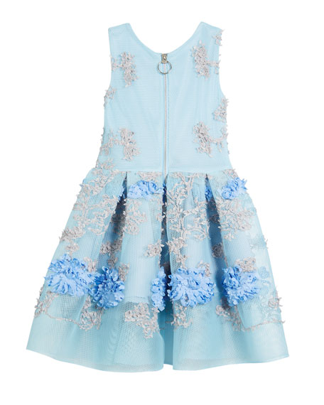 Perforated Mesh Flower-Embroidered Dress, Size 2-6X