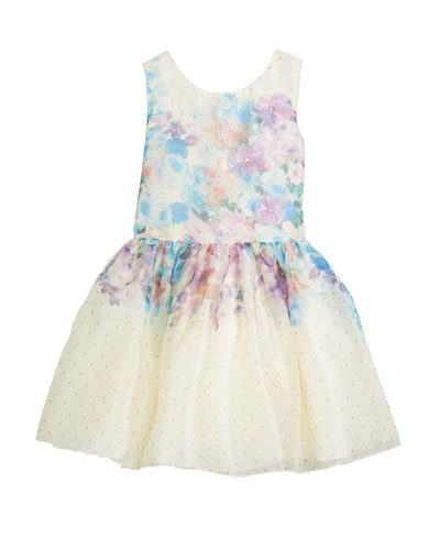 Ombré Floral Party Dress, Size 7-16