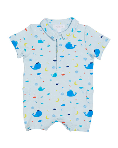Nautical Whales Collared Shortall, Size 3-24 Months