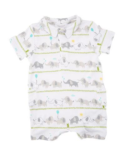 Elephant Stripe Polo Shortall, Size 0-12 Months