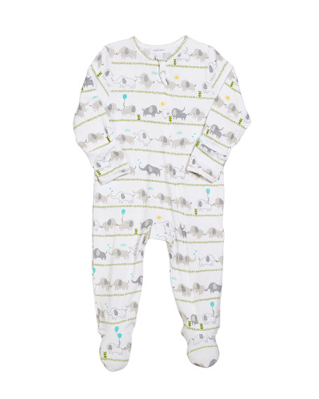 Angel Dear Striped Elephant Zip-Front Footie Pajamas, Size