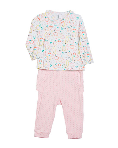 Fruit Ruffle-Trim Two-Piece Set, Size 0-12 Months