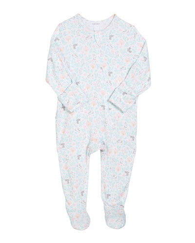 Floral Bunny Zip-Front Footie Pajamas, Size 0-9 Months