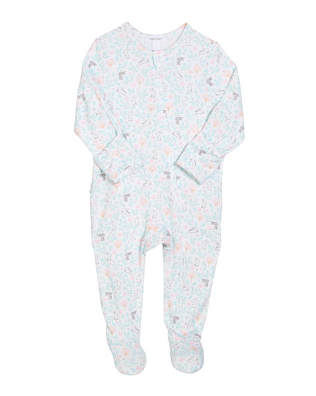 Angel Dear Floral Bunny Zip-Front Footie Pajamas, Size