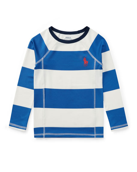 Ralph Lauren Striped Rashguard Coverup Swim Shirt, Sizes