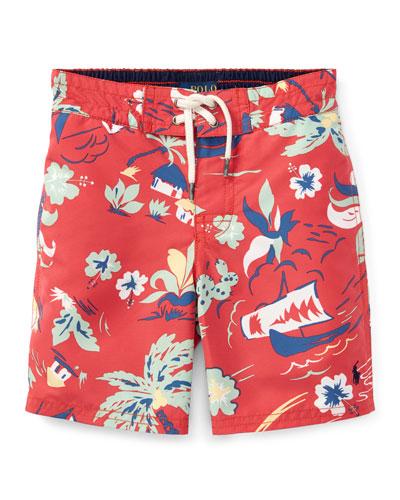 Sanibel Tropical Board Shorts, Size 5-7