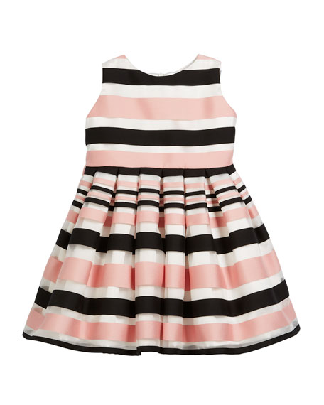 Satin Stripe Dress, Size 7-14