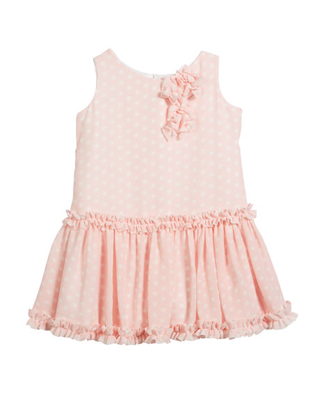 Helena Pretty in Pink Polka-Dot Ruffle Dress, Size