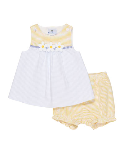Buttercup Seersucker Dress w/ Bloomers, Size 3-24 Months