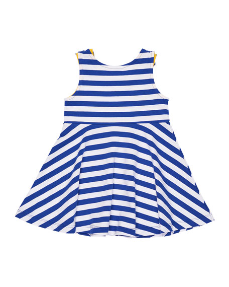 Stripe Knit Swing Dress w/ Flowers, Size 2-6X