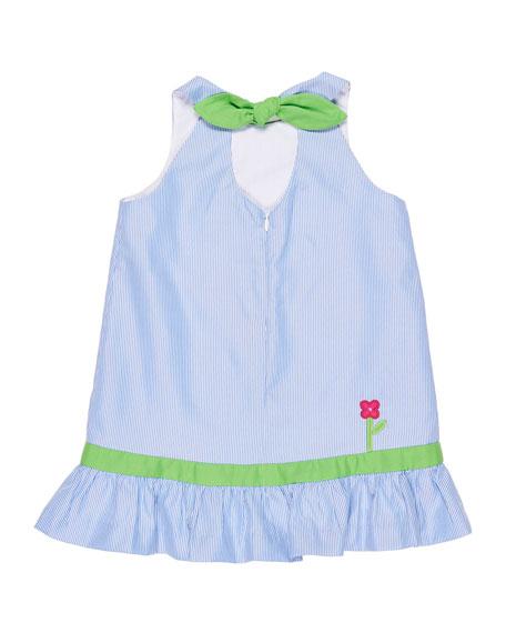 Stripe Birdhouse Dress w/ Crossbody Bag, Size 2-6X