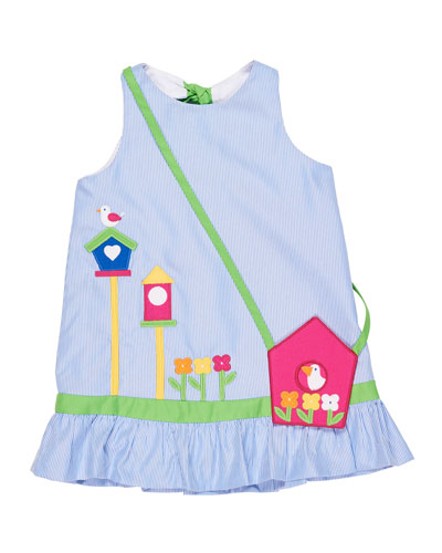 Stripe Birdhouse Dress w/ Crossbody Bag, Size 2-6X