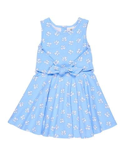Sleeveless Bow-Print Tie-Front Dress, Size 2-6X